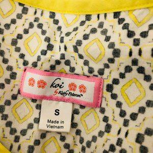 koi Tops - KOI Yellow Gray Floral Nursing Scrubs Top Small